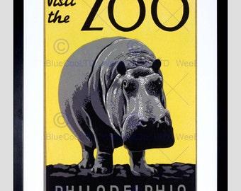 Advert Zoo Philadelphia Usa Hippopotamus Vintage Poster Art Print FE830PY