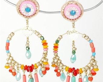 Boucles d'oreilles clips créoles Patchwork multicolore
