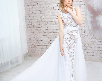 "Wedding dress with removable train ""Anna"", tulle bridal removable skirt with train"