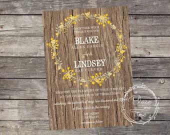Printable Wood and Yellow Lillies Wedding Invitation