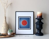 Modern Art Circle -Add A Focal Point To Home Decor-,Office Decor, Bright Orange and Gray, Abstract Modern Digital Print