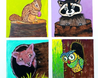 Fridge magnets-Magnets set-animal magnets-Forest creatures- acrylic painting-owl-raccoon-fox-squirrel-magnets, set of 4
