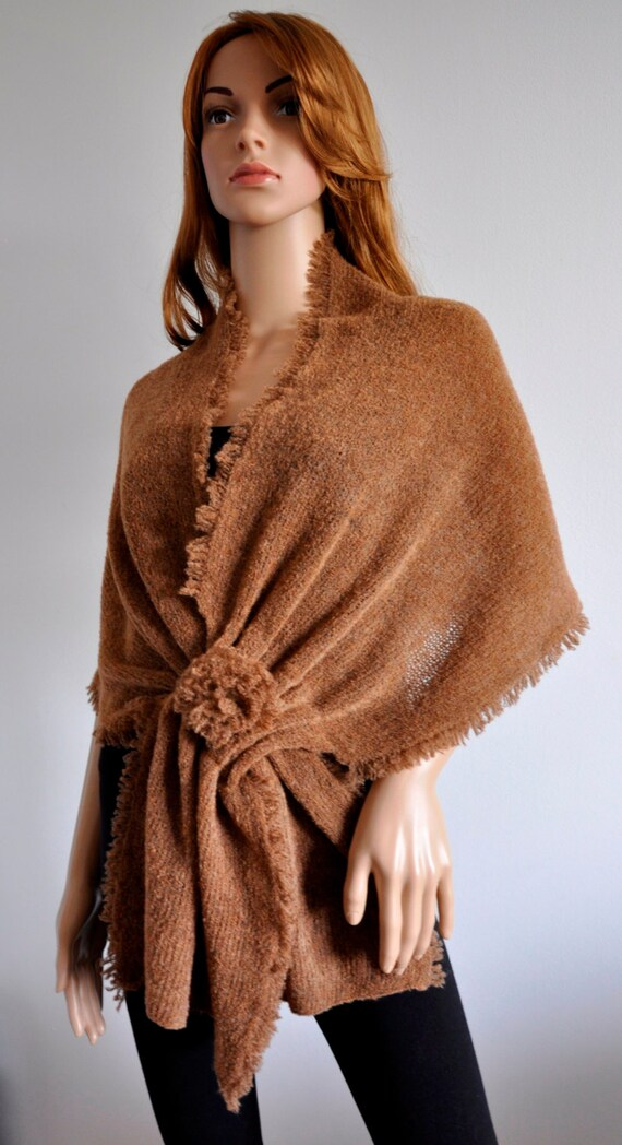 Capelet Wrap Shawl Cover up Handmade Ready to Ship oversized shrug for women brown  wrap knit loose cardigan, Wool