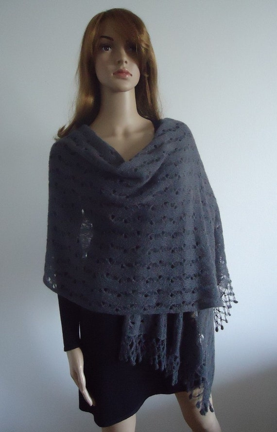 Dark gray mohair wrap cover up gift Ready to Ship Hand knitted Accessory Romantic  Cape Shawl Shrug Handmade Gifts