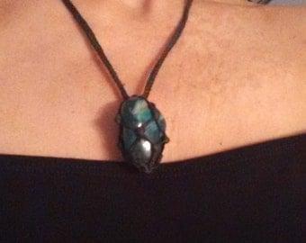 Necklace macrame, boho, bohemian, beach, summer, jewerly, necklaces, gemstones, boho chic