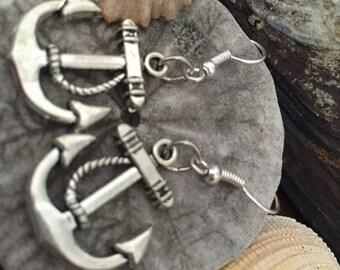 silver dangle sea anchor earrings