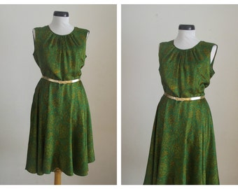 Vintage 1960s Silk Emerald Green Dress , Emerald Green Party Dress,Medium.