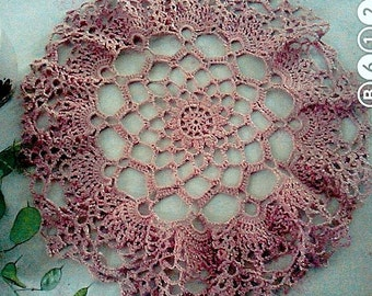 Vintage   handmade   Crochet Doily . Perfect décor piece for spring and summer!purple crochet doily