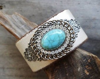 Turquoise Stone & Leather Cuff