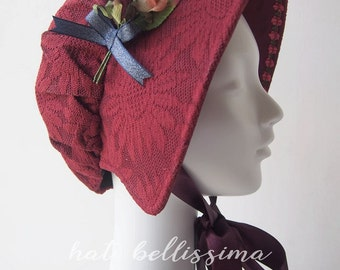 SALE Deep red  Women's bonnet  hatbellissima