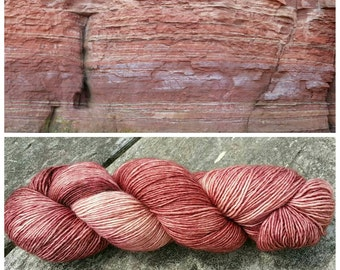 Hand Dyed Single Ply 100% Merino Fingering Weight Yarn - Banded Seawall