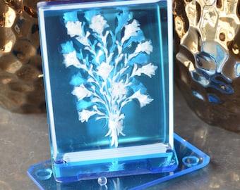 Flowers on Blue Inscripto-gram Series (#1602)