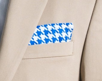 Mens Pocket Square, Blue and White Houndstooth Pattern, wedding accessory, mens handkerchief, Suit Accessory, Houndstooth Design