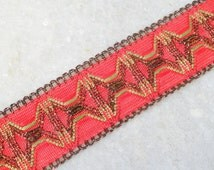 Wide Copper Border Red Geometric Net Base Pattern Fabric Trim India FT 209 1 yd