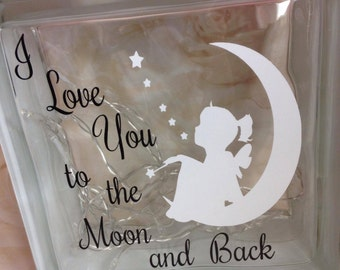 Decorative glass block with Quote, silhouette, lights and ribbon choice of colours avaialable