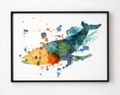Whale gift Nautical print Whale art print Beach decor EM141
