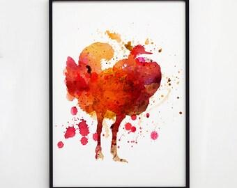Ostrich art Bird watercolor Wildlife decor EM066