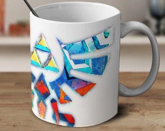 Triforce Mug, Legend of Zelda Mug, Zelda Mug, Zelda Watercolor Mug, Zelda Coffee mug Tri Force, Zelda Cup