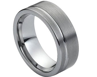 Men's Tungsten Carbide Brushed with Polished Shiny Off- Center Groove 8mm Wedding Band | Anniversary Gift