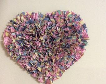 Handmade Rag Heart Wall Hanging