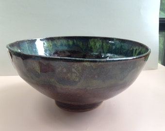 Handmade large ceramic pottery bowl