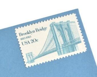 25 Brooklyn Bridge Stamps! - 20 cents - Vintage 1983 - Unused - Quantity of 25