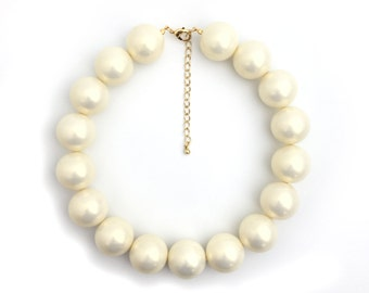 Chunky Pearl Necklace, Big Pearl Necklace, Faux Pearl Necklace, Bridal Necklace, Wedding Necklace