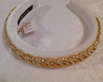Alicia: White Jeweled, Velvet, Padded, Puffy Headband