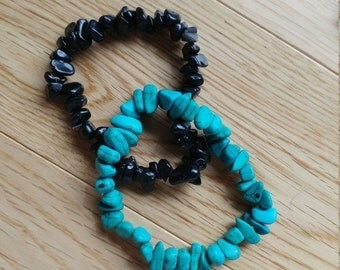 stone bead bracelets, teal and black