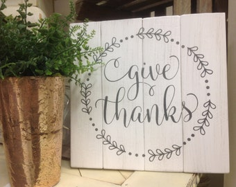 Give Thanks wood sign rustic wood pallet sign home decor wall decor housewarming gift distressed farmhouse decor spiritual
