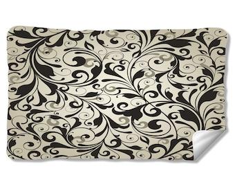 Black and White Scroll Velveteen Fleece Blanket