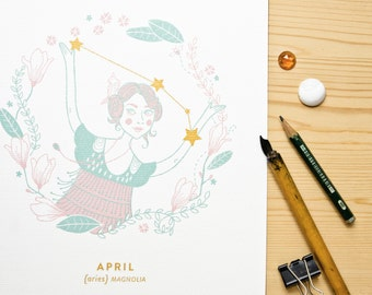 Aries Constellation Print with gold details