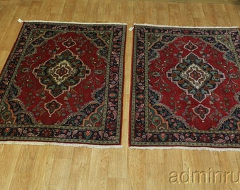 Pair of Two Traditional Handmade Tabriz Persian Oriental Area Rug Carpet 5X6