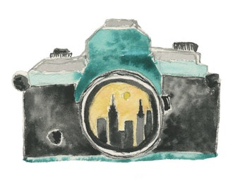 Camera and City Print