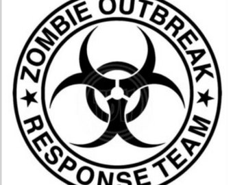 Zombie Outbreak Decal, Hazard Decal, Yeti Decal, Laptop Decal, Car Decal, Zombie Outbreak Response Team Sticker, Tumblir Decal