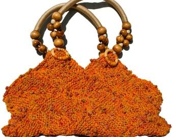 Acapulco Orange / Black mix / Maroon hand knitted bag