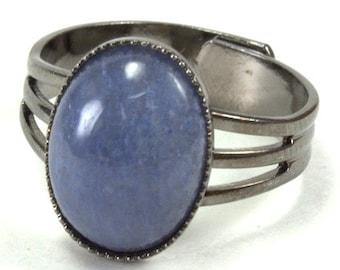 Blue Quartz Cabochon Adjustable Ring