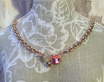 Rose gold 12mm, 8mm, 6mm swarovski crystal necklace