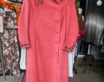 Vintage Pink Silk Dress/Coat