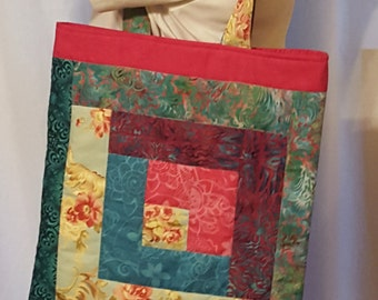 Handmade Fabric Tote, Blue, green, and pink in Log Cabin pattern