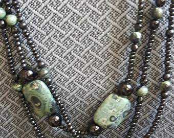 Black and Moss Green Jasper, 3 Strand Necklace