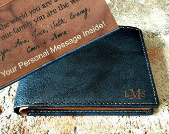 Personalized gift  for husband • dad • boyfriend • Personalized men's wallet • custom engraved wallets • RFID monogram wallet • Indigo* 7751