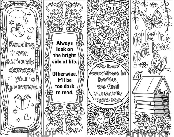Printable Coloring Bookmark Templates with Four Designs, Colouring Bookmarks