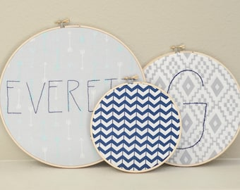 Set of 3 Custom Personalized Embroidery Hoops, Nursery decor, Baby Name Embroidery hoop, Baby Shower Gift