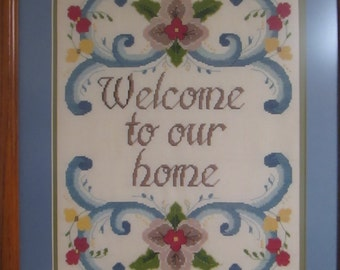 Welcome to our Home completed cross stitch picture/professional framed/17+x21+/blue/tan/red/yellow/blue & green mats/beautiful