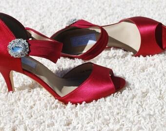 Red Bridal Pumps, Red High Heels, Silk Satin Shoes, Bridesmaids, Custom Wedding Shoes, Custom High Heels, Custom Shoes