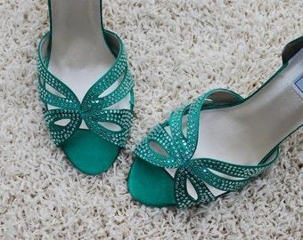 Emerald Wedding Shoes, Custom Wedding Shoes, Rhinestones, Bridesmaids Shoes, Green Bridesmaids, Emerald Bridesmaids, Pumps