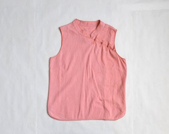 90s pink chinese top / size M-L / peach cotton top / sleeveless chinese top