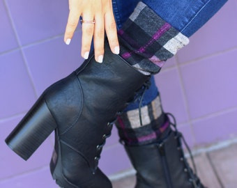 Boot toppers, boot cuffs Purple plaid boot toppers