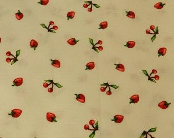 Cherry & strawberries on WHITE Mary Engelbreit fabric